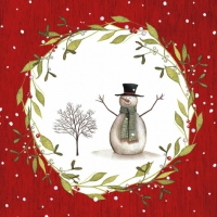 Lunch Servietten Snowman with Tree red