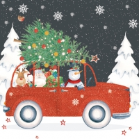 Servietten 33x33 cm - Red Christmas Car