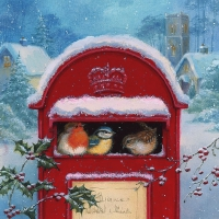 Servietten 33x33 cm - Red Post Box