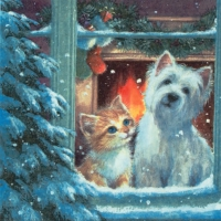 Servietten 33x33 cm - Westie & Kittin looking out of Window