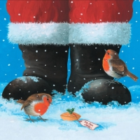 Lunch Servietten Two Robins at Santa?s Feet
