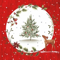 Lunch Servietten Fawn with Christmas Tree red