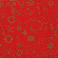 Lunch Servietten Seasonal Icons gold/red
