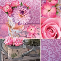 Lunch Servietten Rosa Floral Collage