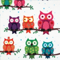 Servietten 33x33 cm - Colourful Owls