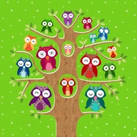 Lunch Servietten Owl Family Tree olive