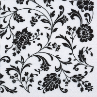 Servietten 33x33 cm - Arabesque White white-black