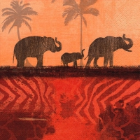 Lunch Servietten Elephants in Morning Mist oxide red