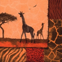 Lunch Servietten Giraffe Collage oxide red