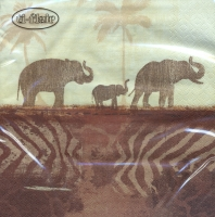 Servietten 33x33 cm - Elephants in Morning Mist