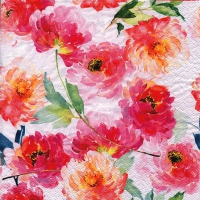 Servietten 33x33 cm - Summer Roses white