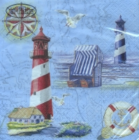 Servietten 33x33 cm - Nautical Chart & Icons