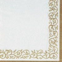 Servietten 33x33 cm - Romantic Border gold-white