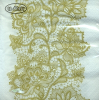 Lunch Servietten Lace Pattern gold