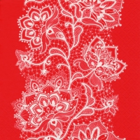 Lunch Servietten White Lace red