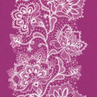 Lunch Servietten White Lace pink