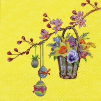 Lunch Servietten Twig with Wicker Basket yellow