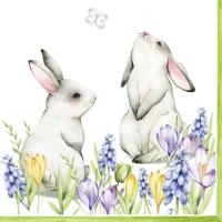 Servietten 33x33 cm - Bunnies in Spring Meadow