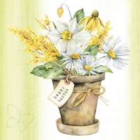 Servietten 33x33 cm - Easter Bouquet in Pot