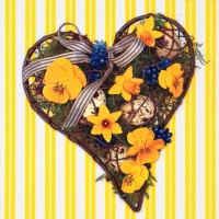Lunch Servietten Easter Heart yellow