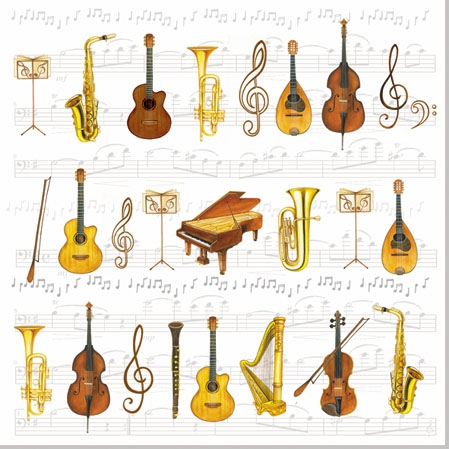 20 Servietten - 25 x 25 cm ORCHESTRA,  Everyday,  cocktail servietten,  Geige,  Gitarre,  Cello,  Trompete