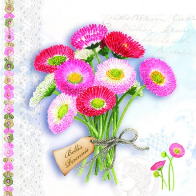 20 Servietten - 25 x 25 cm BELLIS PERRENIS BLUE,  Frühjahr,  cocktail servietten,  Blumen