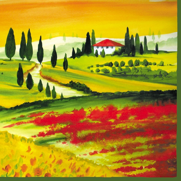 20 Servietten - 33 x 33 cm TOSCANA,  Regionen - Mediteran,  Everyday,  lunchservietten