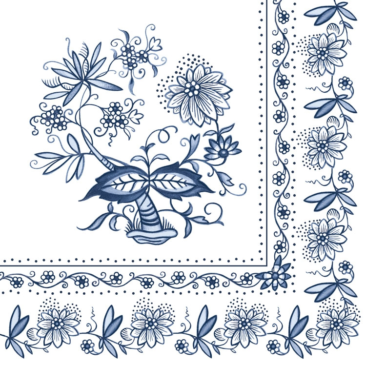 20 Servietten - 33 x 33 cm BLUE ONION,  Sonstiges - Muster,  Blumen -  Sonstige,  Everyday,  lunchservietten