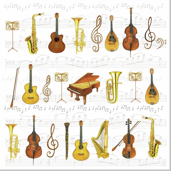 20 Servietten - 33 x 33 cm ORCHESTRA,  Sonstiges - Musik,  Everyday,  lunchservietten,  Gitarre,  Geige,  Cello,  Trompete,  Flöte