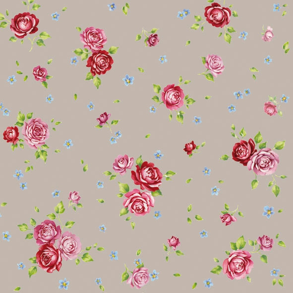 20 Servietten - 33 x 33 cm ROSALIE TAUPE,  Blumen - Rosen,  Everyday,  lunchservietten
