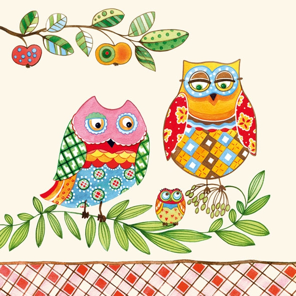 Lunch Servietten Family Owl