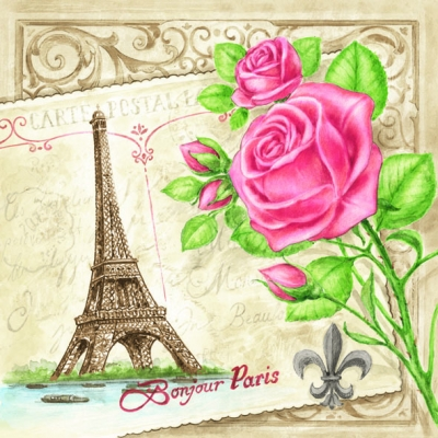 Everyday,  Regionen - Länder - Frankreich,  Blumen - Rosen,  Everyday,  lunchservietten,  Rosen,  Paris,  Eiffelturm