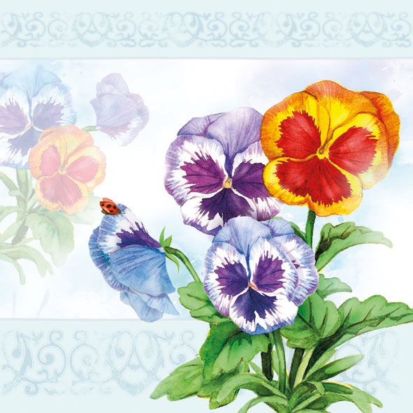 Lunch Servietten Aquarell Pansy