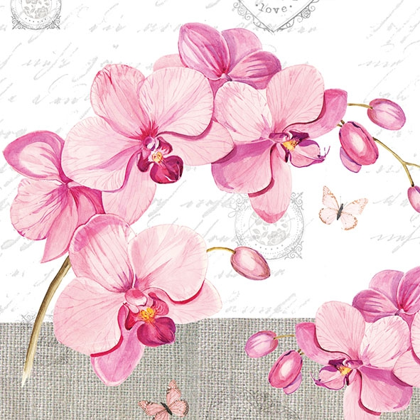 Servietten 33x33 cm - Orchids With Love