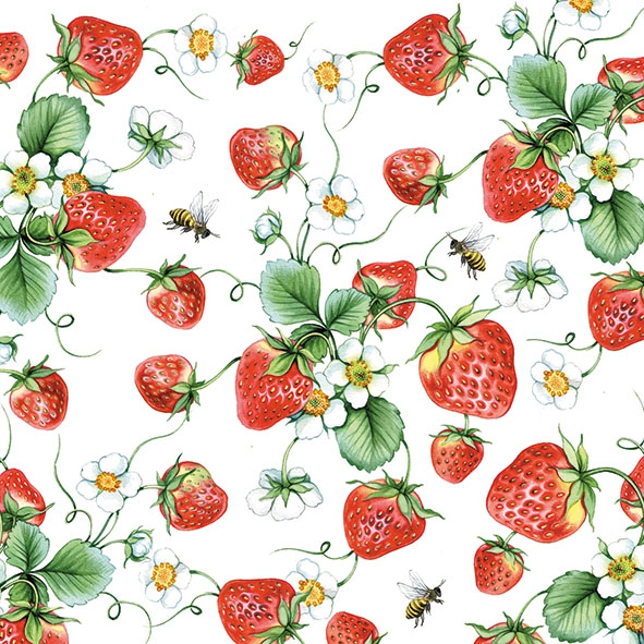 Servietten 33x33 cm - Strawberries All Over White