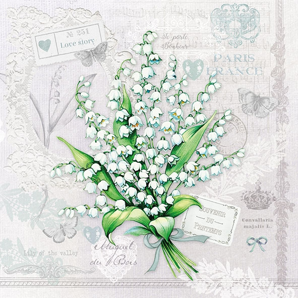 Servietten 33x33 cm - Lily of the Valley