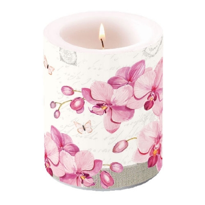 Kerze Candle Big Orchids With Love