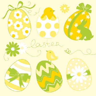 Lunch Servietten Easter Eggs Collection Yellow