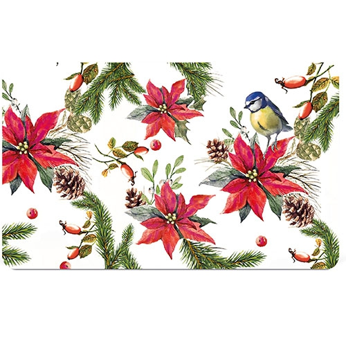 Breakfast Tray - Bird On Poinsettia White