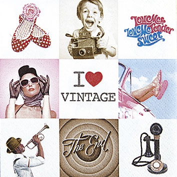 Servietten 25x25 cm - Collage I Love Vintage (Collage Ich Liebe Vintage)