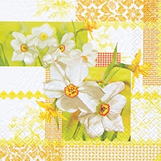 20 Servietten - 33 x 33 cm Narcissus Patchwork,  Sonstiges - Muster,  Blumen - Osterglocken,  Everyday,  lunchservietten