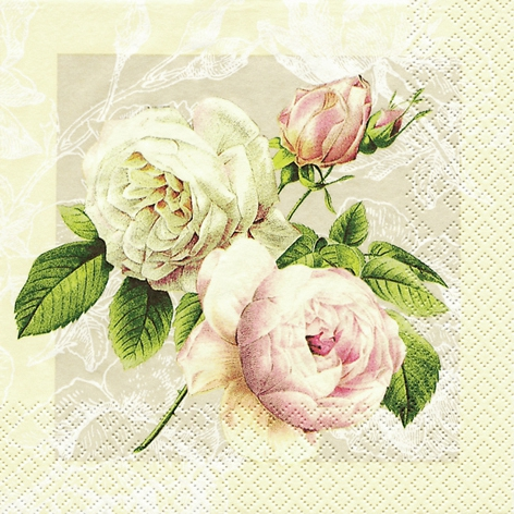 20 Servietten - 33 x 33 cm Cottage Rose,  Blumen - Rosen,  Everyday,  lunchservietten