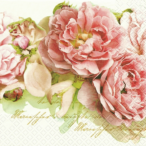20 Servietten - 33 x 33 cm Mary Roses,  Blumen - Rosen,  Everyday,  lunchservietten