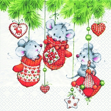 Cocktail Servietten 3 Cute Christmas Friends