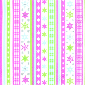 Cocktail Servietten Stripes and Stars pastel