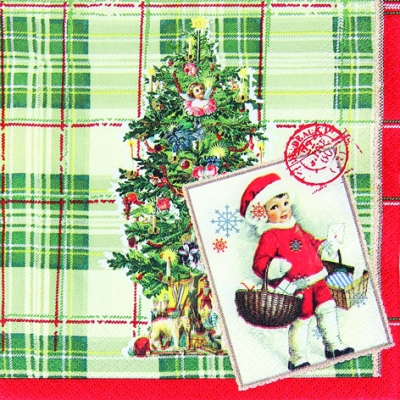 Servietten www,  Weihnachten,  lunchservietten,  Weihnachtsbaum,  Mädchen