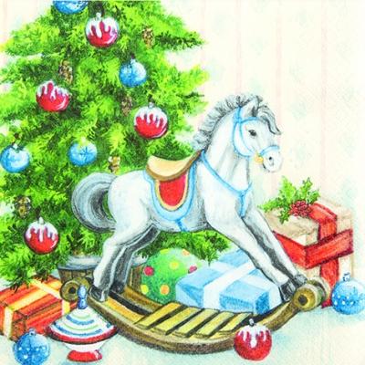 Servietten / Sonstiges,  Weihnachten - Weihnachtsbaum,  Weihnachten - Geschenke,  Weihnachten,  lunchservietten,  Weihnachtsbaum,  Schaukelpferd,  Geschenke