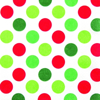 Lunch Servietten Maxi Dots red/green