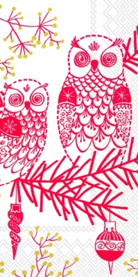Buffet Servietten OWL ORNAMENT white red