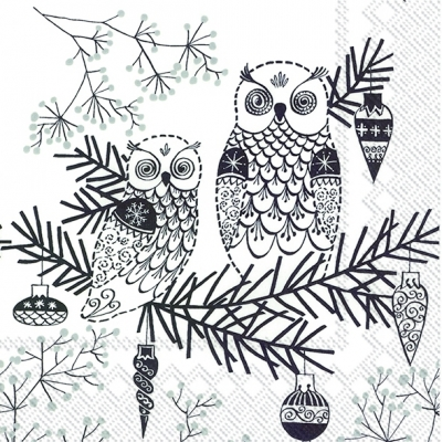 Cocktail Servietten OWL ORNAMENT white black